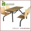 厂家直销订做 快餐厅汉堡店连体桌椅 防火板桌面曲木椅钢结构组合 专业厂家 质保两年