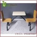 简约两人坐连体餐桌椅组合 简单使用快餐桌椅定做 坚固耐用 质保两年