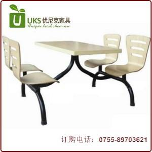 工厂订做 小吃店快餐厅餐桌椅组合 连体快餐桌椅厂家直销