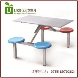 不锈钢快餐桌椅 不锈钢桌面玻璃钢凳面 优质食堂餐桌椅定做