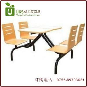 简单实用 连体快餐桌椅 高品质快餐桌椅专业定做 深圳优尼克